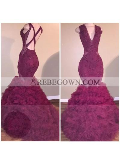 New Arrival Mermaid  Burgundy Backless Pleated V Neck Criss Cross Prom Dresses