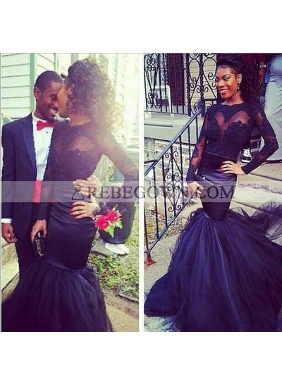 Black Tulle Mermaid  See Through Long Sleeves African Prom Dresses