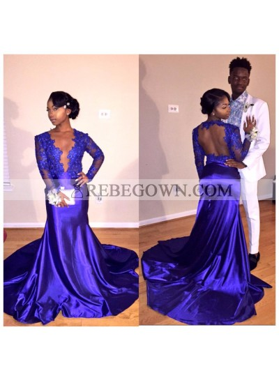 Newly Sheath Royal Blue With Appliques Long Sleeves Open Front Long Prom Dresses