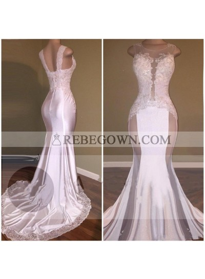 Mermaid  White See Through Open Front With Appliques Long Prom Dresses
