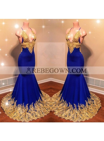 Amazing Royal Blue Mermaid  With Gold Appliques Sweetheart Spaghetti Straps Backless Prom Dresses
