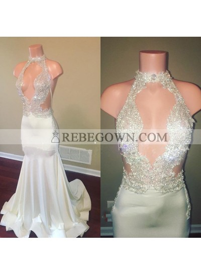 Shiny White Sheath Beaded Open Front Long Elastic Satin Prom Dresses