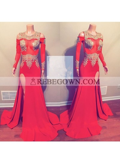 Red Long Sleeves Side Slit Beaded See Through Off Shoulder Prom Dresses