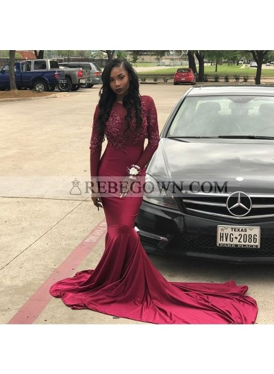 Sexy Burgundy Mermaid  Long Sleeves Long See Through Prom Dresses For African