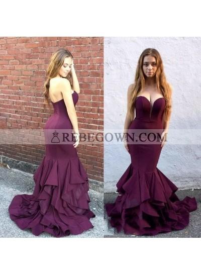 Sexy Sweetheart Burgundy Zipper Back Strapless Mermaid  Satin Ruffles Prom Dresses 2021