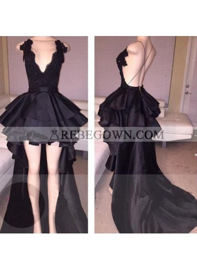 Cute A Line Black Backless High Low Ruffles Deep V Neck Lace Short Prom Dresses