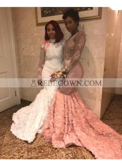 Amazing Mermaid  African White Long Sleeves High Neck Long Prom Dresses