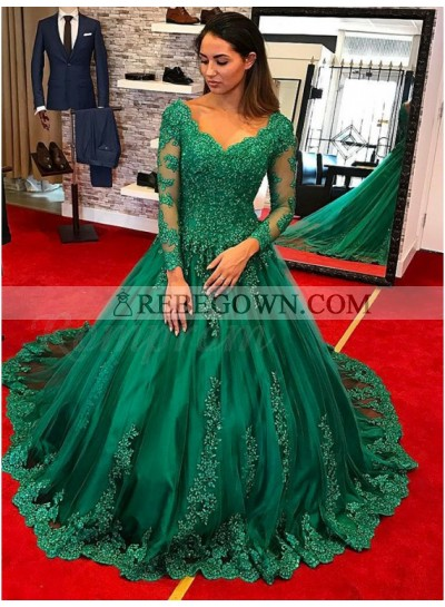 Emerald Long Sleeves Sweetheart Neck Ball Gown Prom Dresses With Appliques