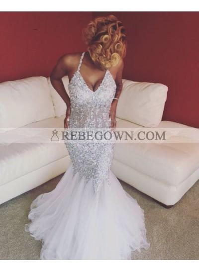 Sexy White Mermaid  V Neck Beaded Tulle Halter Prom Dresses