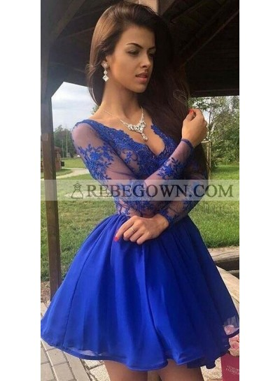 Knee Length Royal Blue V Neck Long Sleeves Organza See Through Short Prom Dresses