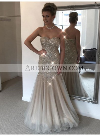 Shiny Sheath Sweetheart Tulle Champagne Beaded Strapless Floor Length Prom Dresses