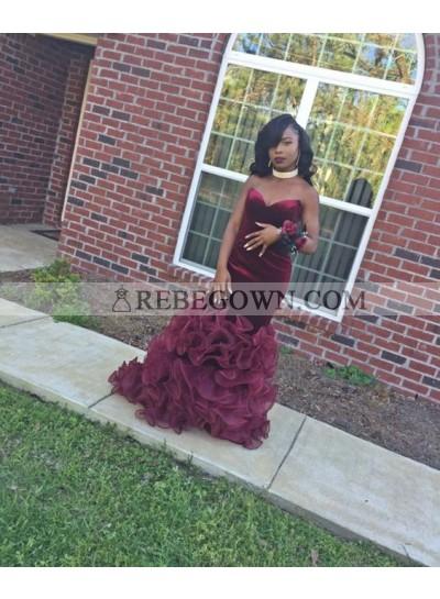 Sexy Mermaid  Sweetheart Burgundy Velvet Organza African Strapless Rose Ruffles Prom Dresses