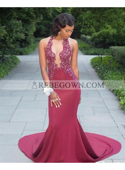 Mermaid  Burgundy Open Front Satin African Long Prom Dresses