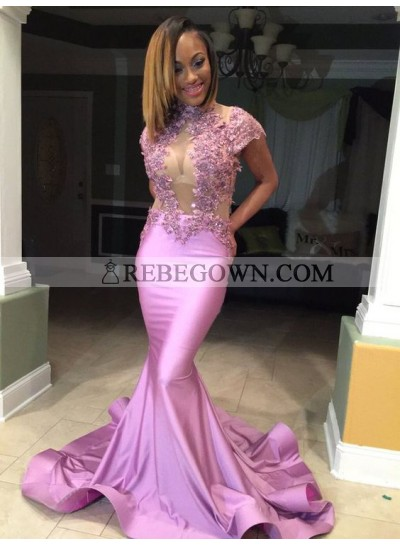 Sexy Pink Mermaid  Satin Open Front Appliques High Neck African Long Prom Dresses