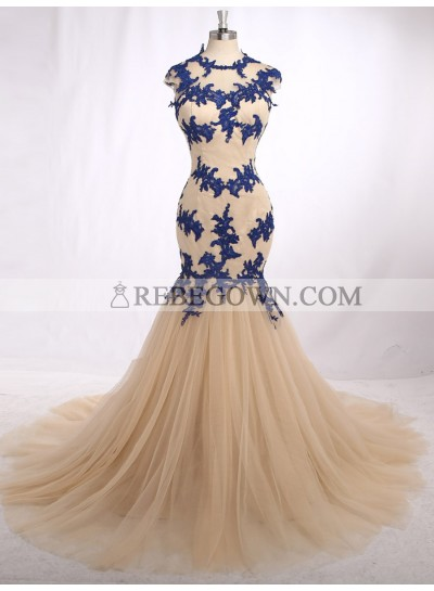 Elegant Mermaid  Champagne With Blue Appliques Tulle Sleeveless Long Prom Dresses