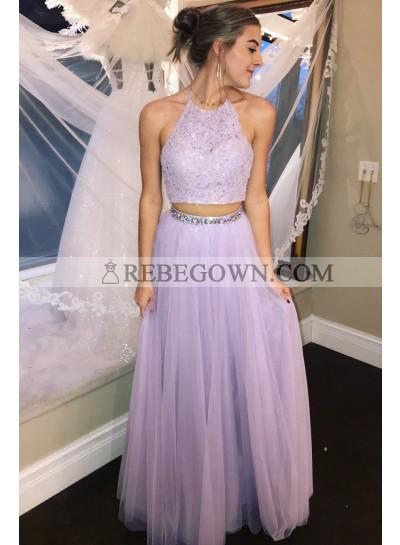Cheap A Line Tulle Lavender Two Pieces Appliques Halter Prom Dresses