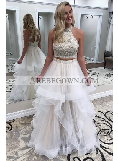 Amazing A Line Tulle White Two Pieces Beaded Halter Prom Dresses