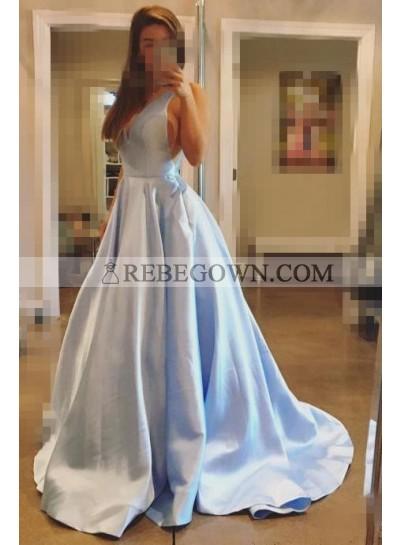 Cheap A Line V Neck Satin Light Sky Blue Backless Long Prom Dresses