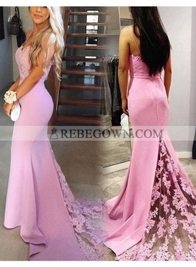 Elegant Pink Sheath Sweetheart Spaghetti Straps Lace Long Prom Dresses