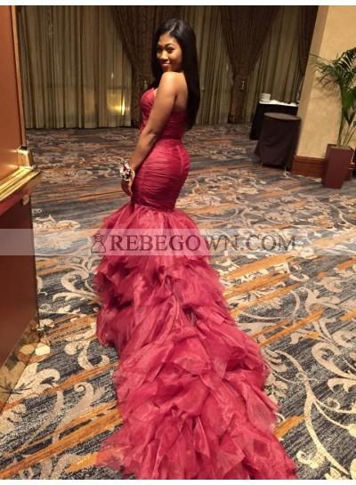 Charming Mermaid  Burgundy Strapless African Organza Ruffles Long Prom Dresses