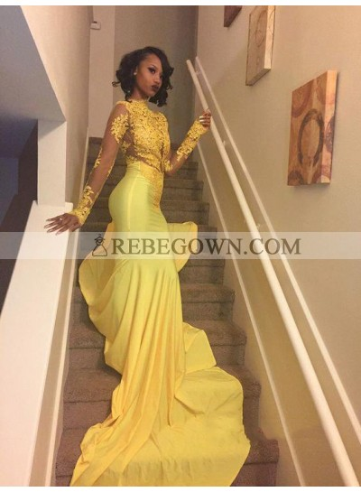 Amazing Yellow Long Sleeves Mermaid  African High Neck Long Prom Dresses