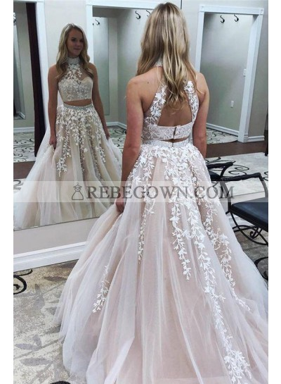 New Arrival A Line Pearl Pink Tulle High Neck Two Pieces Prom Dresses