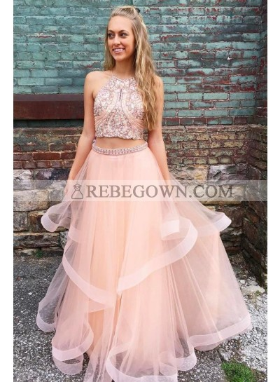 New Arrival A Line Tulle Halter Two Pieces Pink Ruffles Prom Dresses