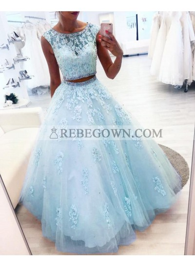 New Arrival Blue Two Pieces Tulle Beaded Ball Gown Prom Dresses
