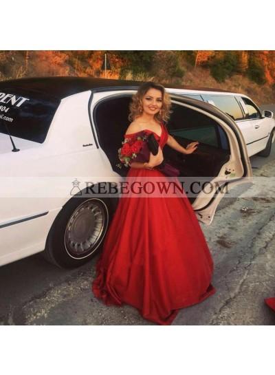 Elegant A Line Red Satin Off Shoulder Lace Up Back Long Prom Dresses