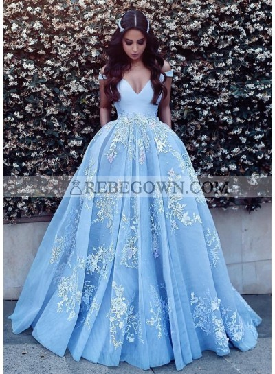 New Arrival Off Shoulder Sweetheart Ball Gown Prom Dresses With Appliques