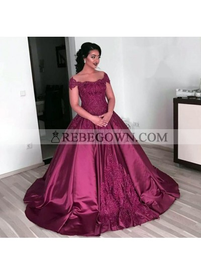 Burgundy Off Shoulder Satin Ball Gown Prom Dresses