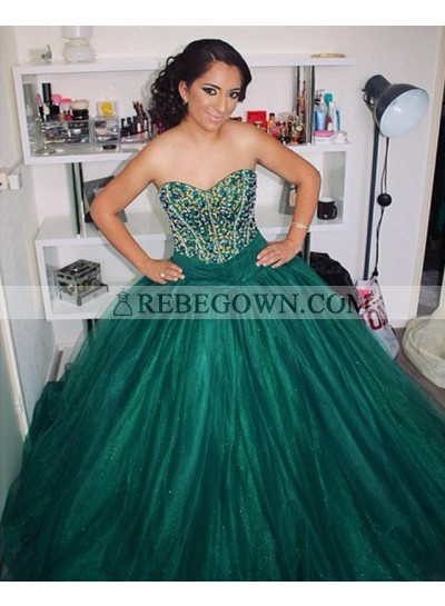 Teal Sweetheart Beaded Organza Ball Gown Prom Dresses