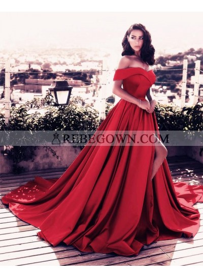 Elegant A Line Satin Side Slit Off Shoulder Red Satin Long Off Shoulder Prom Dresses