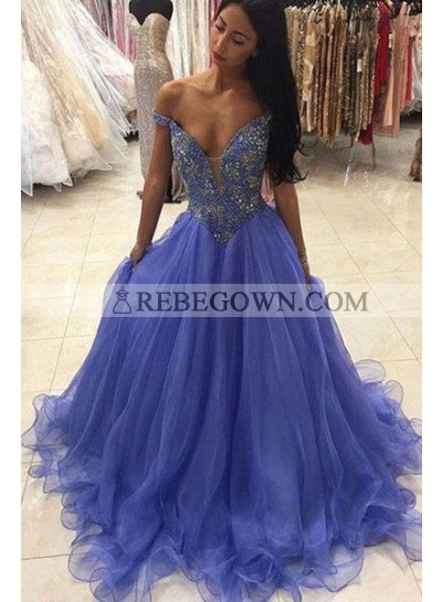 Organza Blue Off Shoulder Sweetheart Beaded Ball Gown Prom Dresses