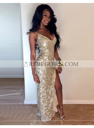 Sexy Champagne Sequence Side Slit V Neck Sheath Black Women's Prom Dresses
