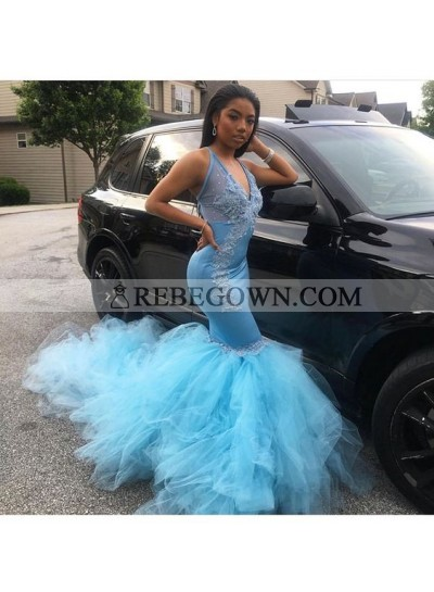 Sexy Mermaid  Blue V Neck Tulle Prom Dresses With Appliques African American Women's Prom Dresses
