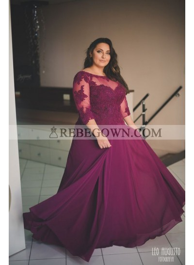 Cheap A Line Chiffon Burgundy Long Sleeves Plus Size Sweetheart Prom Dresses