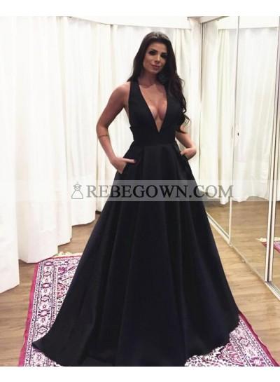 Charming A Line Black Deep V Neck Satin Bowknot Back Long Prom Dresses