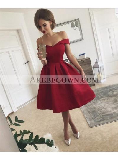 Elegant A Line Off Shoulder Satin Sweetheart Knee Length Short Prom Dresses