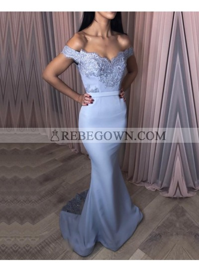 Charming Off Shoulder Mermaid  Light Sky Blue Sweetheart Satin Long Prom Dresses