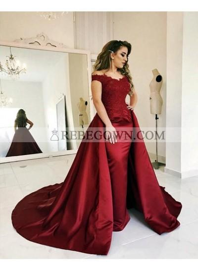 Elegant Sheath Satin Burgundy Long Train Off Shoulder Prom Dresses