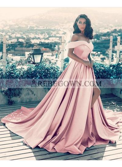 Charming A Line Side Slit Satin Dusty Rose Off Shoulder Sweetheart Long Prom Dresses