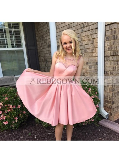 Cute A Line Satin Backless Pink Knee Length Beaded Short Prom Dresses