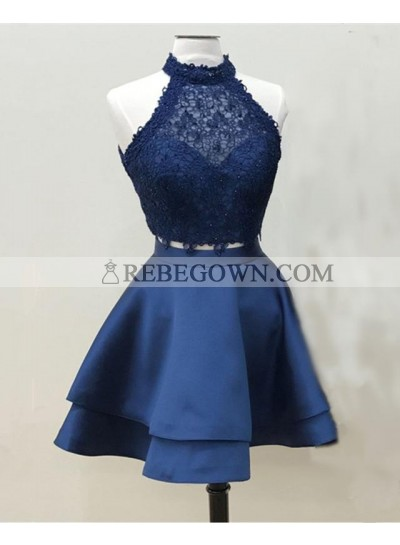 Elegant A Line Knee Length Satin Two Pieces Dark Navy Short Lace Prom Dresses