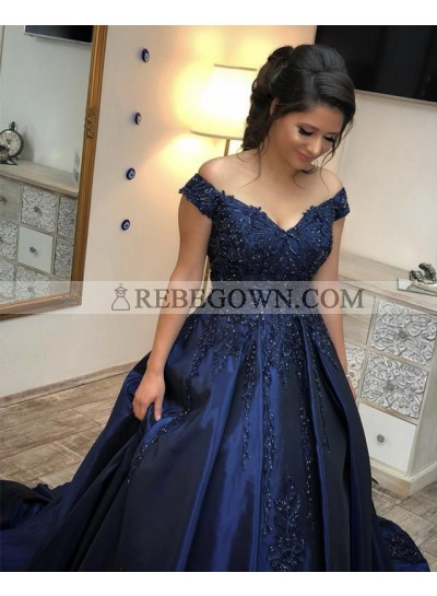 Dark Navy Off Shoulder Sweetheart Beaded Satin Ball Gown Prom Dresses 2020