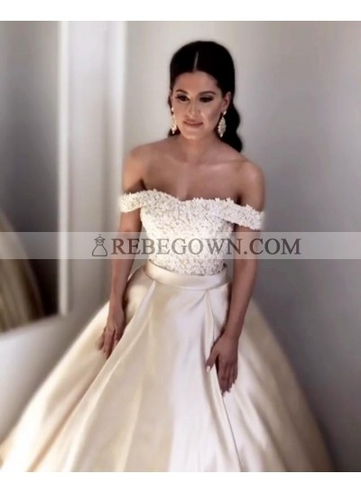 Charming Champagne Satin Off Shoulder Satin Sweetheart Lace Up Back Ball Gown Prom Dresses
