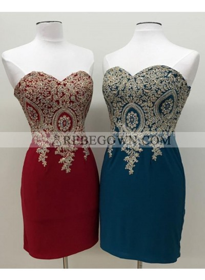 2021 New Arrival Sweetheart Knee Length Sheath Short Prom Dresses With Appliques