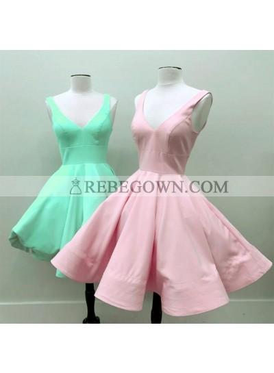 Knee Length Satin Simple V Neck Short A Line Prom Dresses 2020