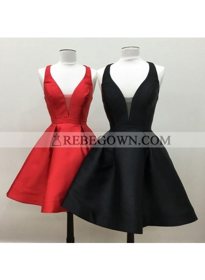 New Arrival A Line Satin V Neck Backless Criss Cross Knee Length Simple Short Prom Dresses
