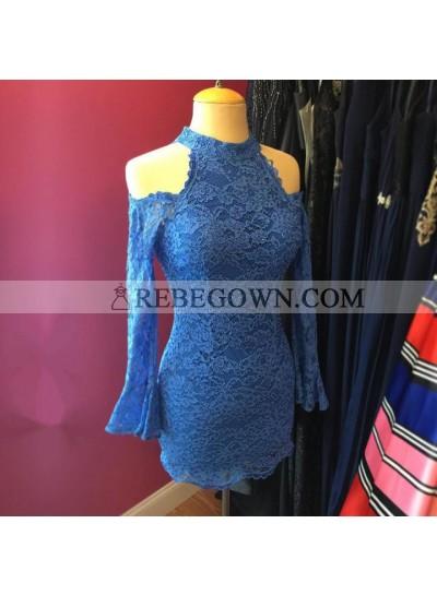 Sheath High Neck Off Shoulder Knee Length Long Sleeves Short Lace Prom Dresses